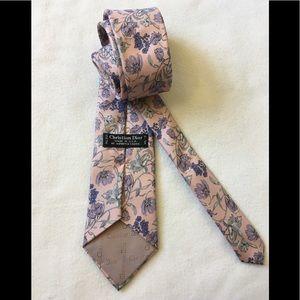 Christian Dior pink floral silk tie vintage